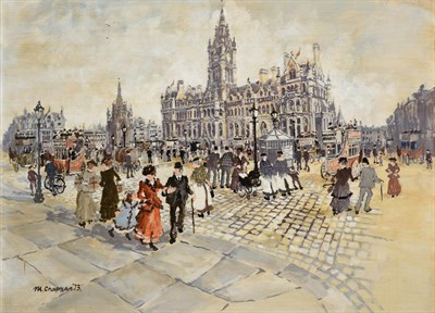 Lot 1065 - Margaret Chapman (1914-2000) ''Town Hall, Manchester''  Signed and dated (19)73, oil on board, 55cm