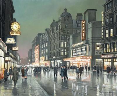 Lot 1066 - Steven Scholes (b.1952) ''City Lights, London 1958'' Signed, inscribed verso, oil on canvas,...