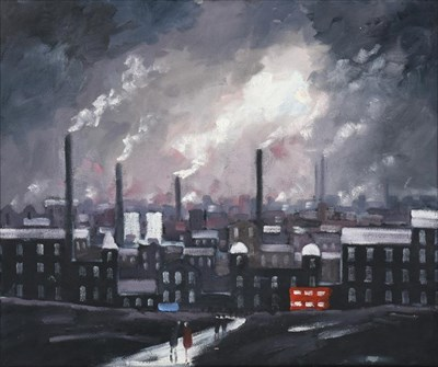 Lot 1069 - Geoffrey Woolsey Birks (1929-1993) Figures before and industrial town Oil on board, 50cm by 60.5cm