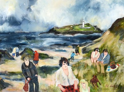 Lot 1077 - Gill Watkiss (b.1938) ''Godrevy Lighthouse''  Signed and dated (20)17, oil on canvas, 44cm by 59cm