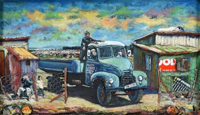 Lot 1081 - Willie Bester (b.1956) South African Figures and dog in a blue truck before a township Signed...