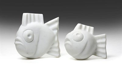 Lot 1085 - Darren Yeadon (b.1970) Mother and baby fish Signed, Carrara marble, 19cm and 14cm high respectively