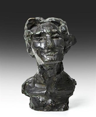 Lot 1087 - Attributed to Otto Gutfreund (1889-1927) Czech Head and shoulders bust of a man Indistinctly...