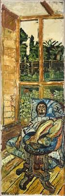 Lot 1089 - John Randall Bratby RA, LG, ARCA (1928-1992) Gloria Bishop reclining on a blue chair, in a...