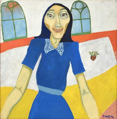 Lot 1090 - Peter Neal (b.1937)  Portrait of a lady wearing a blue dress Signed, oil on board, 91.5cm by 91cm