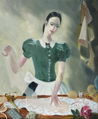 Lot 1091 - Doris Zinkeisen (1898-1991) Scottish ''Dress Maker'' Signed, oil on canvas, 59cm by 49cm...