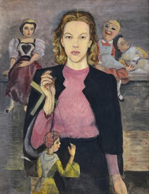 Lot 1092 - James Cleaver ARCA (1911-2003)  ''Caroline and her Puppets'' Signed and dated (19)39, oil on...