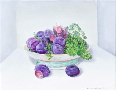 Lot 1096 - Audrey Johnson (1918-2010) ''Stanley Plums, Grapes and Parsley'' Signed and dated 1991, oil on...