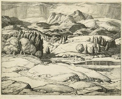 Lot 1 - Sir Leslie Matthew Ward (1851-1922) ''The Langdales from Tarn Hows'' Signed and inscribed in...