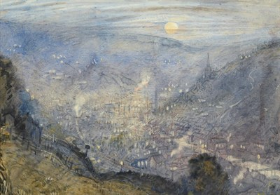 Lot 7 - Attributed to Frederick (Fred) Cecil Jones RBA (1891-1966) ''Moonrise Todmorden'' Inscribed and...