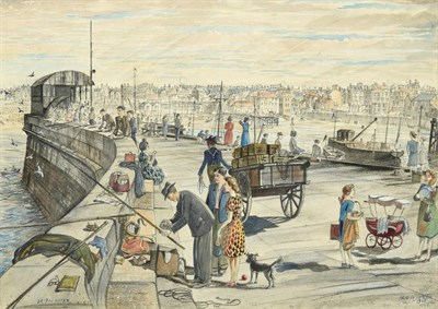 Lot 14 - Frederick (Fred) Cecil Jones RBA (1891-1966) ''Bridlington'' Signed, inscribed and dated 1955,...