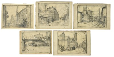 Lot 17 - Cuthbert Crossley (1883-1960) ''Pillon Lane Halifax'' Monogrammed, inscribed with title and...
