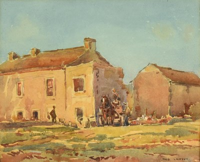 Lot 25 - Frederick (Fred) Lawson (1888-1968)  Cart horse and figures before buildings on a bright day...