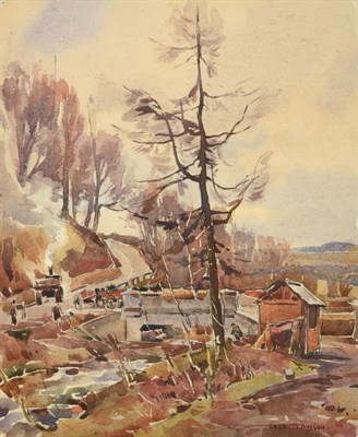 Lot 26 - Frederick (Fred) Lawson (1888-1968)  Building the New Bridge, Ghyll Beck Woods (1941) Signed,...
