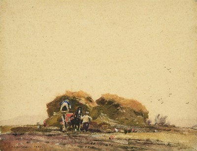 Lot 27 - Frederick (Fred) Lawson (1888-1968)  Building a hayrick Signed and dated 1921, mixed media, 22cm by