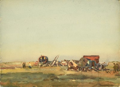 Lot 30 - Frederick (Fred) Lawson (1888-1968)  Gypsy encampment Signed, pencil and watercolour, 27.5cm by...