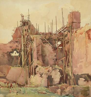 Lot 31 - Frederick (Fred) Lawson (1888-1968)  Repairs to Middleham Castle Signed, pencil and...