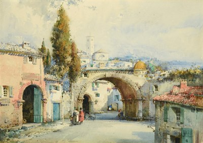 Lot 33 - Noel Harry Leaver ARCA (1889-1951)  Figures at an Italian town gateway Watercolour, together with a