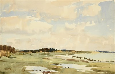 Lot 34 - Edward Wesson RI, RBA, RSMA (1910-1983) ''Klimping Beach, near Worthing, near Littlehampton''...