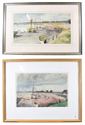 Lot 35 - Joseph Pighills (1902-1984)  ''Boats at Maldon, Essex'' Signed and dated (19)64, mixed media,...