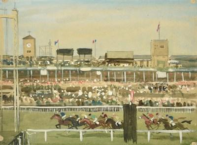 Lot 36 - Joseph Appleyard (1908-1960) ''Doncaster, Races'' Mixed media, 28.5cm by 38.5cm (unframed)...