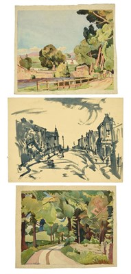 Lot 43 - Muriel Metcalfe (1910-1994) ''Heaton, Bradford'' Signed, blue ink and watercolour, together...