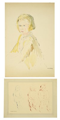 Lot 44 - Muriel Metcalfe (1910-1994) Portrait of a young blonde girl, three-quarter length, seated...