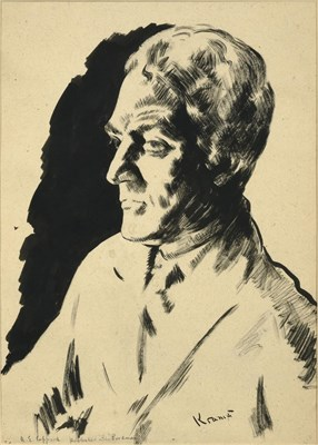 Lot 46 - Jacob Kramer (1892-1962) ''A.E. Coppard'', Head and shoulders portrait Signed, inscribed with...