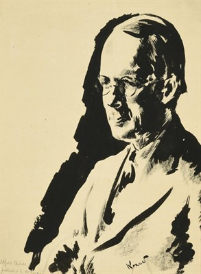 Lot 48 - Jacob Kramer (1892-1962) ''Wilfred Childe'', head and shoulders portrait Signed, inscribed with the