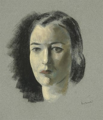 Lot 52 - Jacob Kramer (1892-1962) Head study portrait of a lady with black hair worn in a bun Signed,...