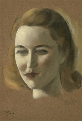 Lot 53 - Jacob Kramer (1892-1962) ''Grace'' Signed and inscribed, chalk or pastel on buff paper, 37cm by...