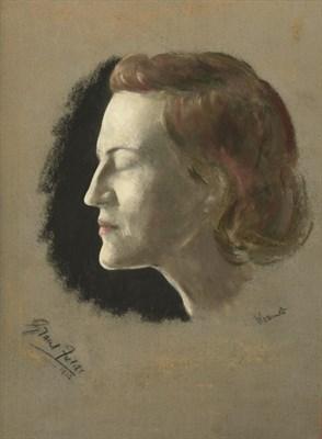 Lot 54 - Jacob Kramer (1892-1962) ''Gracie Fields'', head study portrait in profile Signed, inscribed...