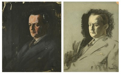 Lot 56 - Jacob Kramer (1892-1962) Portrait of George Hopkinson, head and shoulders, wearing a black suit and