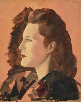 Lot 57 - Jacob Kramer (1892-1962) ''Miss Joyce Heron'', head and shoulders portrait sketch in profile...
