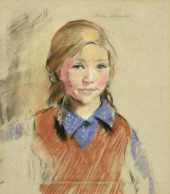 Lot 58 - Philip Naviasky (1894-1983) Portrait of a young girl, head and shoulders, wearing a purple...