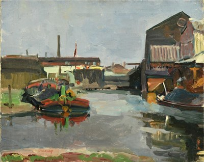Lot 61 - Philip Naviasky (1894-1983) Docklands with barge Signed, oil on canvas, 40cm by 50.5cm...