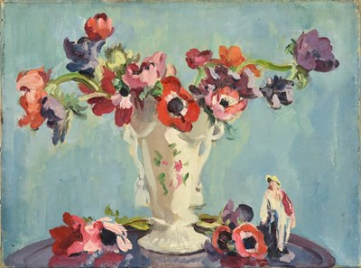 Lot 62 - Philip Naviasky (1894-1983) Still life of Anemones in a porcelain vase and a figurine Signed on...