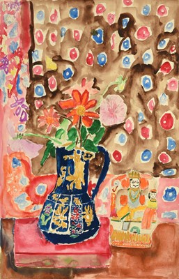 Lot 63 - Sonia Naviasky (20th/21st Century) Still life with blue glazed jug and flowers Signed, pencil...