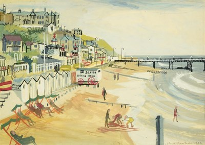 Lot 68 - Janet Rawlins (b.1931) Beach scene Signed and dated 1954, mixed media, 25cm by 35.5cm  Artist's...