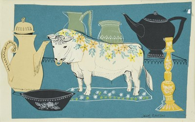 Lot 69 - Janet Rawlins (b.1931) ''Bull in a China Shop'' Signed, inscribed verso, collage, 16.5cm by...