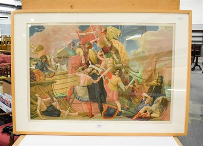 Lot 1002 - After Colin Unwin Gill (1892-1940) King Alfred's long ships defeat the Danes 877AD, the...