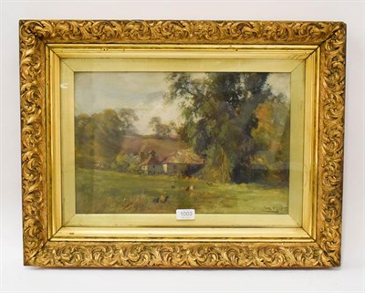 Lot 1003 - European school (late 19th century) country cottages in landscape, indistinctly signed, oil on...