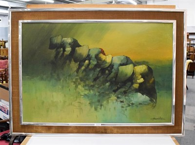 Lot 1004 - Cesar Buenaventura (20th century) Rice field, signed, oil on canvas, 60cm by 90cm