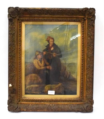 Lot 1005 - After Henry Perlee Parker (1795-1873) Fisherfolk on the rocks, 19th century oil on canvas,...