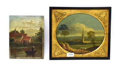 Lot 1006 - English school (19th century) View of a country church, oil on panel, 22cm by 26cm, together with a