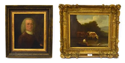Lot 1007 - English school (19th century) cattle watering, oil on canvas, Thomas McLean label verso,...