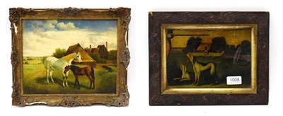 Lot 1008 - British school (20th century) A horse and her foal, oil on board, 38.5cm by 49cm, together with...