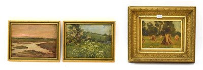 Lot 1010 - European school (early 20th century) haystacks in a field, indistinctly signed, oil on board,...