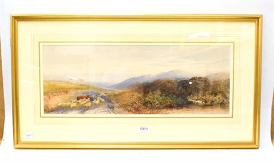 Lot 1011 - British School (19th Century) Sheep dog herding sheep and cattle on a country lane,...