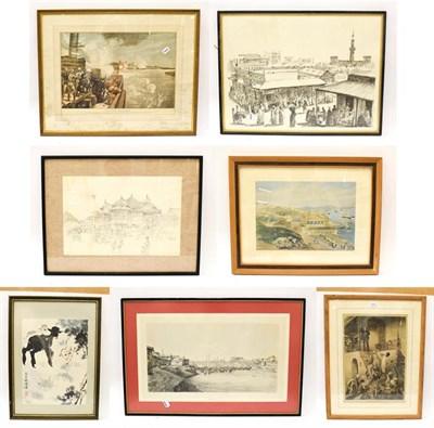 Lot 1015 - A quantity of 19th/20th century decorative prints to include views of Khartoum, Sudan, death of...